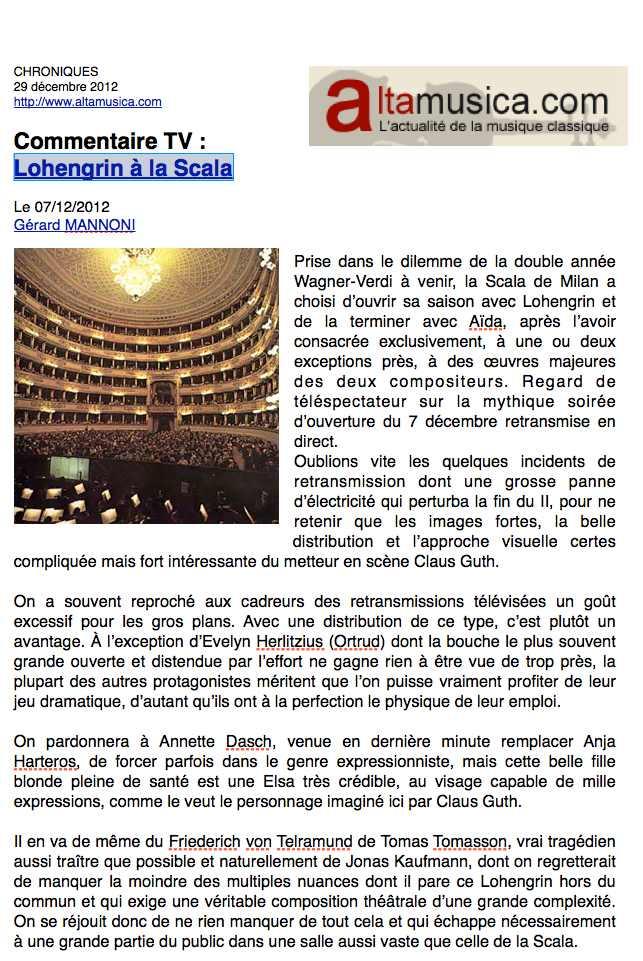 Altamusica - Lohengrin à la Scala