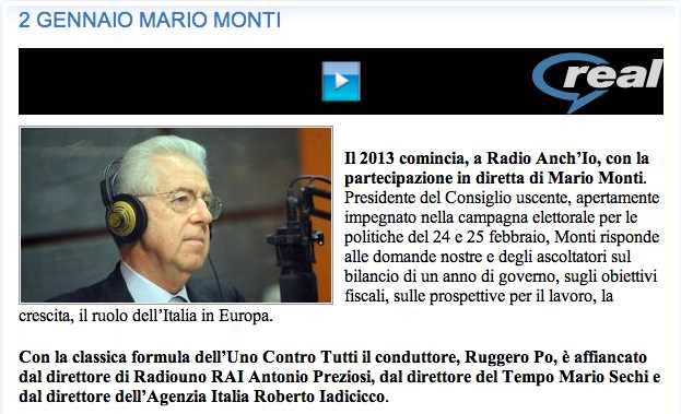 Monti a Radio Anch'Io